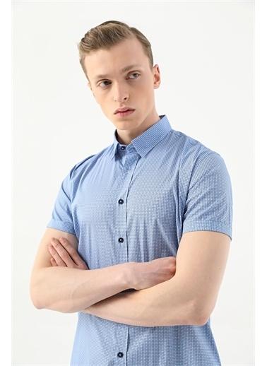 Tween Slim Fit Desenli Gömlek Mavi